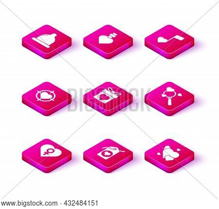 Set Heart With Female Gender, Tag, In The Center Of Darts Target Aim, Gift Box Heart, Search And Lov