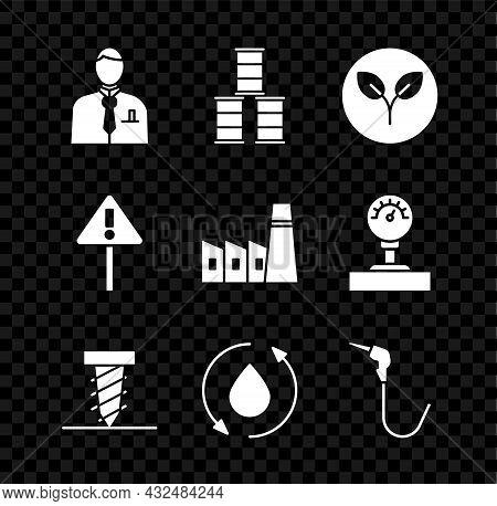 Set Businessman Or Stock Market Trader, Barrel Oil, Bio Fuel, Rotating Drill Digging Hole, Oil Drop,