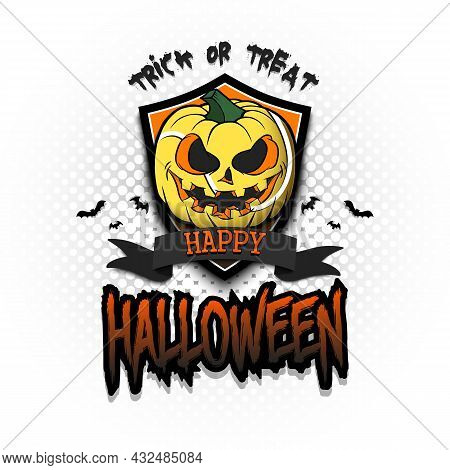 Happy Halloween. Logo Tennis Ball As Pumpkin