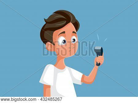 Teen Boy Holding An Electric Razor Vector Illustration