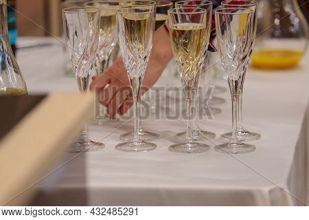 Glasses With Champagne And White Wine On The Table. Corporate, Festive Event.