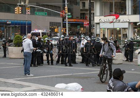 Bronx, New York, Usa - June 2, 2020: Police In Riot Gear Prepare For George Floyd Protest In Manhatt
