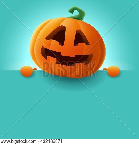 Happy Halloween! 3D illustration of cute Jack O Lantern orange pumpkin character with big greeting signboard on teal background.