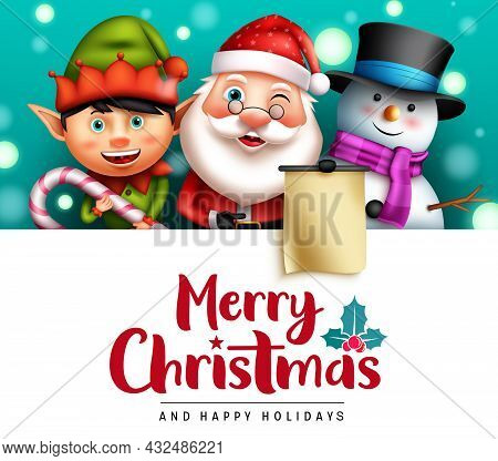 Merry Christmas Vector Template Design. Merry Christmas Text In White Space With Santa Claus, Elf An