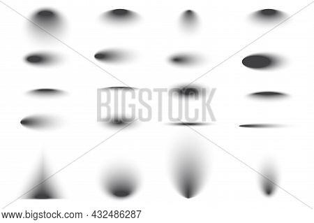 Transparent Grey Shadow Effects Set. Geometric Decoration Element. Line Art. Soft Shade. Vector Illu