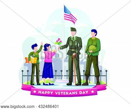 Children Give Gifts And Flowers To Army Veterans In Military Uniforms As A Sign Of Salute And Respec