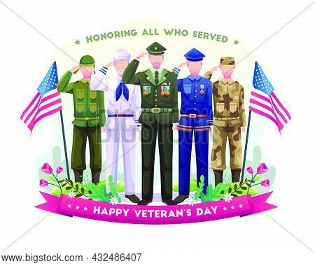 Army Veterans Of Various Forces Are Celebrating, Saluting, And Honoring Veterans Day. Vector Illustr