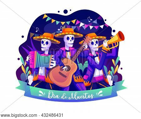 Skeletons Musicians Playing Music On Day Of Dead Traditional Mexican Halloween Dia De Los Muertos Ho