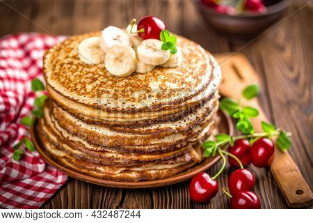 Pancakes. Sweet Honey Pouring Over Pancakes. Tasty Breakfast Food. Stack Of American Pancakes . Hone
