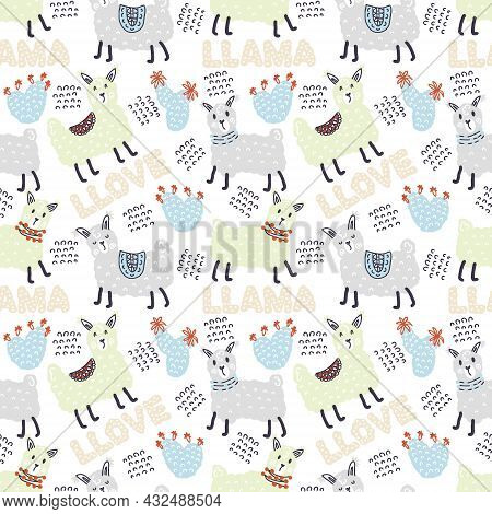Pastel Colored Seamless Pattern Of Lamas, Cactuses And Text Llama Llove. Perfect For T-shirt, Textil