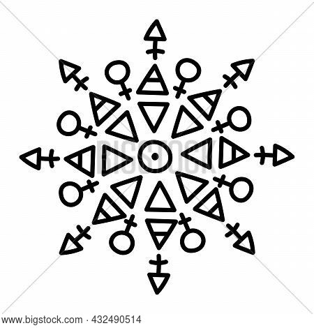 Sacred Geometry, Mandala. Magic Symbols. Medieval Sign. Symbols Of The Esoteric Mandala. Occult Anci