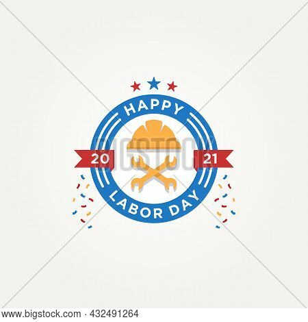 Happy Labor Day Label Emblem Logo Icon Template Vector Illustration Design. Simple Badge Lettering G