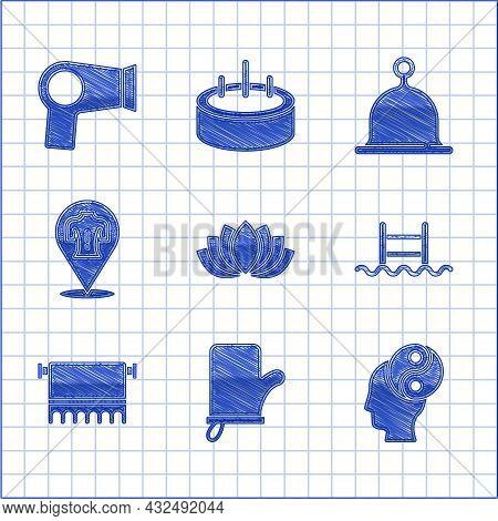 Set Lotus Flower, Sauna Mittens, Yin Yang, Swimming Pool With Ladder, Towel On Hanger, Massage, Hat
