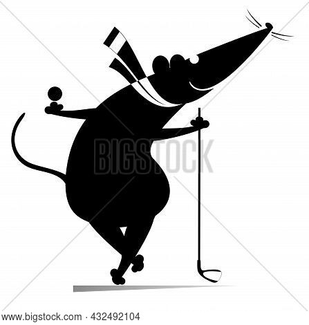 Cartoon Rat Or Mouse Plays Golf Illustration.  Funny Rat Or Mouse Holds A Ball And Golf Club Black O