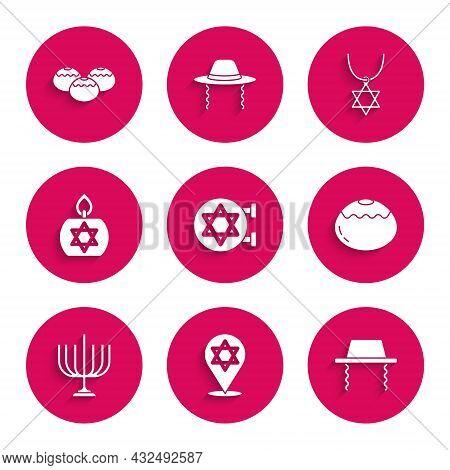 Set Jewish Synagogue, Star Of David, Orthodox Jewish Hat, Sweet Bakery, Hanukkah Menorah, Burning Ca