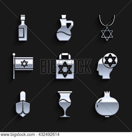 Set Shopping Bag With Star Of David, Jewish Goblet, Pomegranate, Orthodox Jewish Hat, Hanukkah Dreid