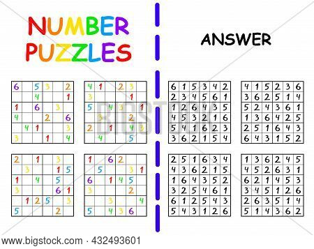 Sudoku Collection With Answers For Beginners Vector Illustration. Simple Colorful Sudoku 6 By 6 Prin