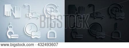 Set Washing Dishes, Dishwashing Liquid Bottle, Dustpan, Lawn Mower And Rubber Gloves Icon. Vector