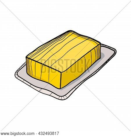 Vector Illustration Of Butter Using Shades Of Yellow And Strokes.