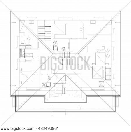 Residential Building Technical Drawing. Vector Rendering Of 3d. Wire-frame Style. The Layers Of Visi