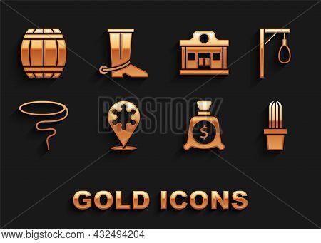 Set Hexagram Sheriff, Gallows, Cactus Peyote In Pot, Money Bag, Lasso, Wild West Saloon, Gun Powder