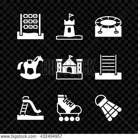 Set Tic Tac Toe Game, Sand Tower, Jumping Trampoline, Kid Slide, Roller Skate, Badminton Shuttlecock