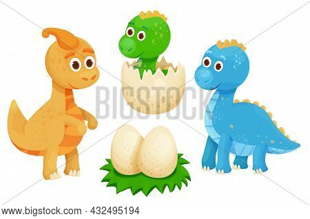 Set Cute Dinosaurs With Dino Nest And Eggs In Cartoon Style. Jurassic Monsters, Smiling Characters.