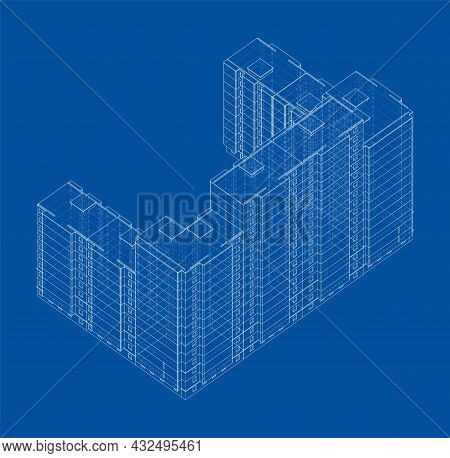 Vector Wire-frame Model Of A Multi-storey Residential Building. Construction Concept. Drawing Or Blu