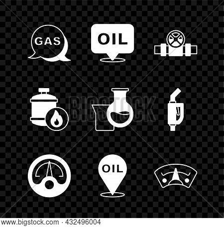 Set Location And Gas Station, Word Oil, Metallic Pipes Valve, Motor Gauge, Refill Petrol Fuel Locati