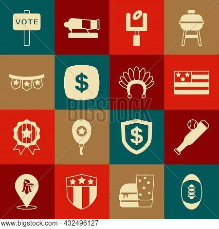 Set American Football Ball, Baseball Bat With, Flag, Football Goal Post, Dollar Symbol, Carnival Gar