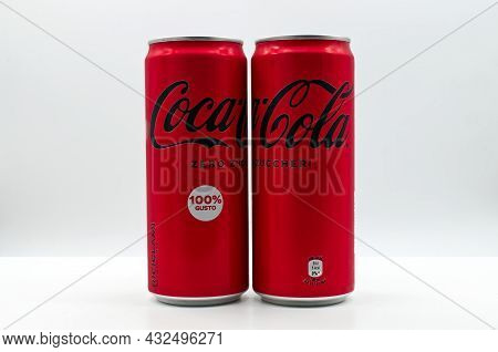 Bologna - Italy - September 8, 2021: Can Of Coca Cola Isolated On White Background.