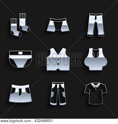 Set Waistcoat, Pants, Shirt, Undershirt, Skirt, Men Underpants, And Socks Icon. Vector