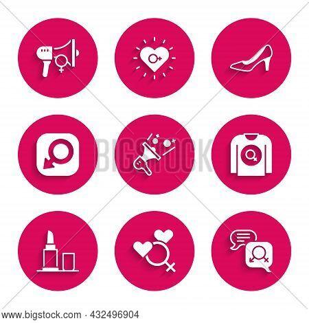 Set Feminist Activist, Female Gender, Gender Equality, Shirt, Lipstick, Male, Woman Shoe And Icon. V