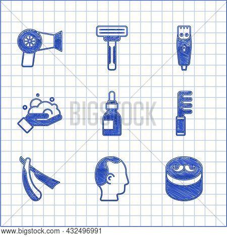 Set Oil Bottle, Baldness, Gel Or Wax For Hair Styling, Hairbrush, Straight Razor, Shaving Foam On Ha