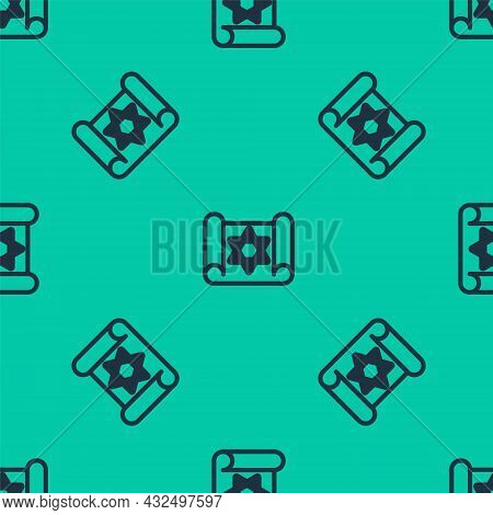 Blue Line Torah Scroll Icon Isolated Seamless Pattern On Green Background. Jewish Torah In Expanded