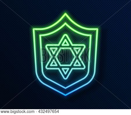 Glowing Neon Line Shield With Star Of David Icon Isolated On Blue Background. Jewish Religion Symbol