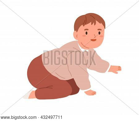 Happy Smiling Baby Start Crawling. Cute Little Kid Trying To Move On His Hands And Knees. Joyful Chi