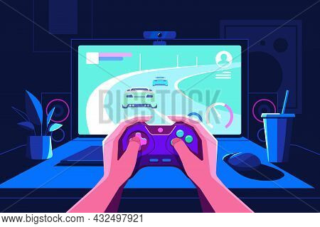 Gamer Hands Holding Console In Front Of Screen Vector Illustration. Teenager Playing Car Racing Flat