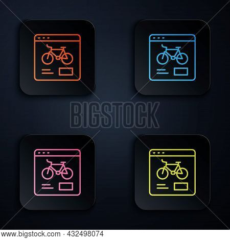 Color Neon Line Bicycle Rental Mobile App Icon Isolated On Black Background. Smart Service For Rent