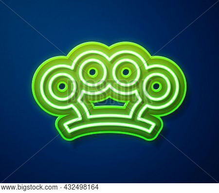Glowing Neon Line Brass Knuckles Icon Isolated On Blue Background. Vector