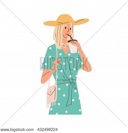 Woman Drinking Coffee-to-go From Paper Cup. Person With Takeaway Tea Mug In Hands. Young Female Hold