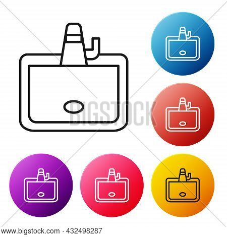 Black Line Washbasin With Water Tap Icon Isolated On White Background. Set Icons Colorful Circle But