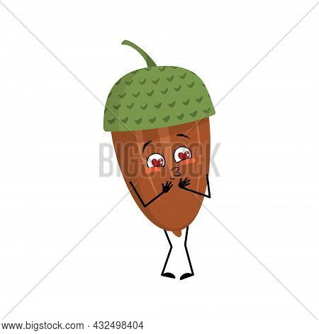 Character Acorn Falls In Love With Eyes Hearts, Kiss Face, Arms And Legs. Cheerful Forest Plant, Aut