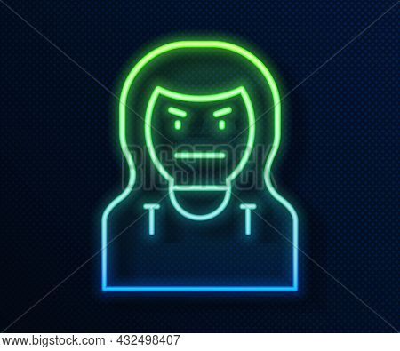 Glowing Neon Line Thief Mask Icon Isolated On Blue Background. Bandit Mask, Criminal Man. Vector