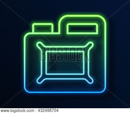 Glowing Neon Line Canister For Motor Machine Oil Icon Isolated On Blue Background. Oil Gallon. Oil C