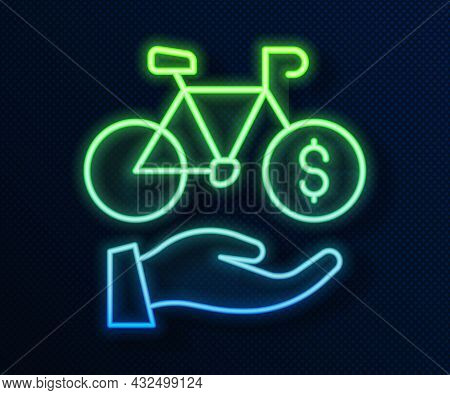 Glowing Neon Line Bicycle Rental Mobile App Icon Isolated On Blue Background. Smart Service For Rent