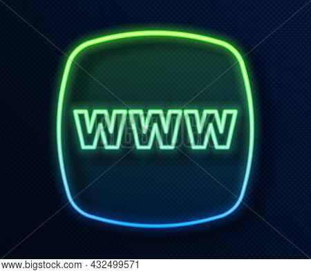 Glowing Neon Line Website Template Icon Isolated On Blue Background. Internet Communication Protocol