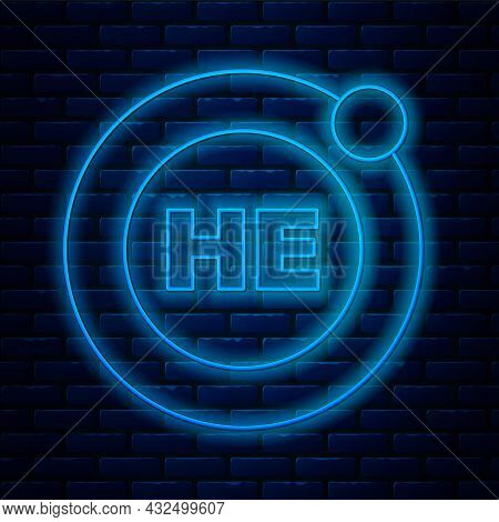 Glowing Neon Line Helium Chemical Element Icon Isolated On Brick Wall Background. Helium Periodic Ta