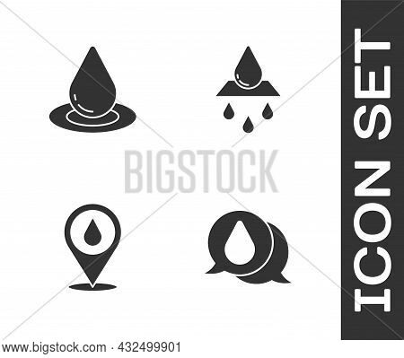 Set Water Drop, , With Location And Recycle Clean Aqua Icon. Vector