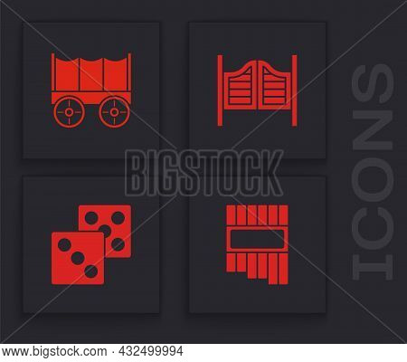 Set Pan Flute, Wild West Covered Wagon, Saloon Door And Game Dice Icon. Vector